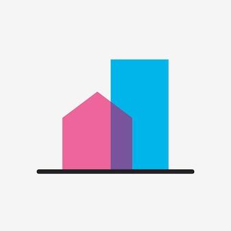 Gebäudeikone, flache designvektorillustration des architektursymbols