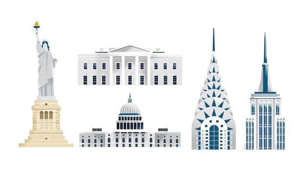 Gebäudeillustration der vereinigten staaten von amerika