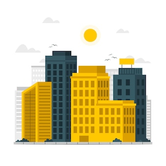 Gebäudekonzeptillustration