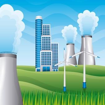 Gebäudekraftwerkreaktorwindmühlen im feld