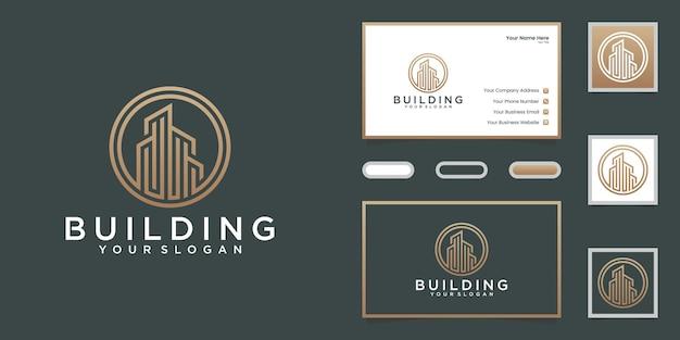 Gebäudelinienlogo mit kreisentwurfsschablone und visitenkarte