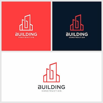 Gebäudelogo-konzept, architektur, konstruktion