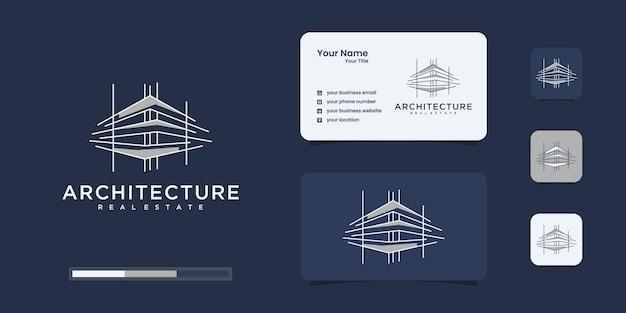 Gebäudelogo mit einzigartigem strichgrafikstil und visitenkarte