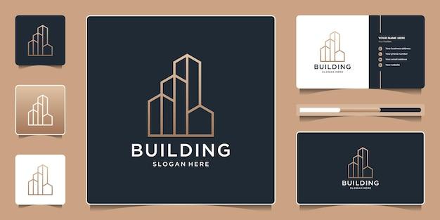 Gebäudelogo mit einzigartigem strichzeichnungsstil und visitenkartenvorlage