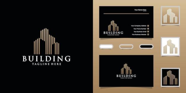 Gebäudelogo mit goldener farbentwurfsschablone und visitenkarte