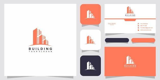 Gebäudelogo mit strichgrafikstil. stadtgebäude abstrakt für logo-design-inspiration und visitenkarten-design
