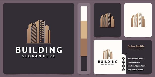 Gebäudelogo mit visitenkartenvorlage