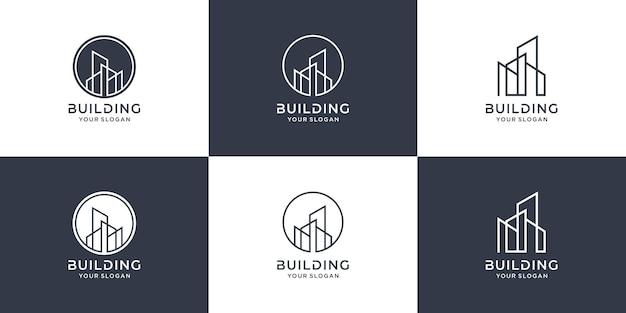 Gebäudelogosammlung mit linienkonzept premium-vektor