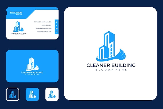 Gebäudereiniger logo-design und visitenkarte Premium Vektoren