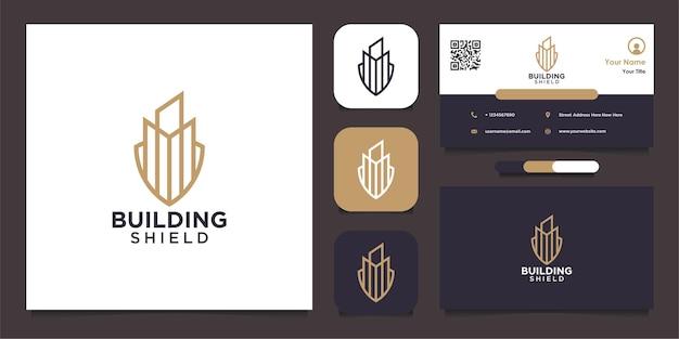 Gebäudeschild-logoform mit linie und visitenkarte