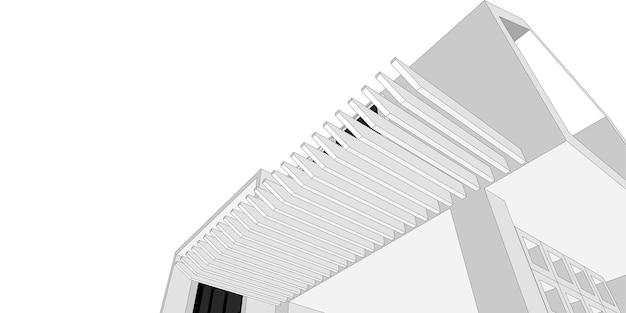 Gebäudeskizze architektonische 3d-darstellung, architekturgebäude perspektivenlinien