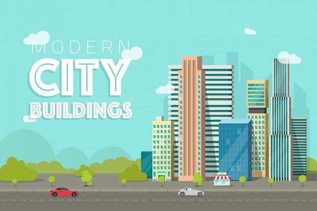 Gebäudestadt oder flache karikaturwolkenkratzerstadt