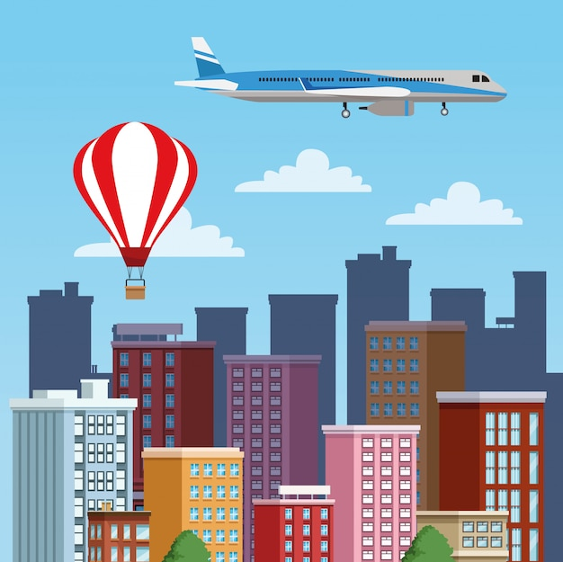 Gebäudestadtbild mit lufttransportszene