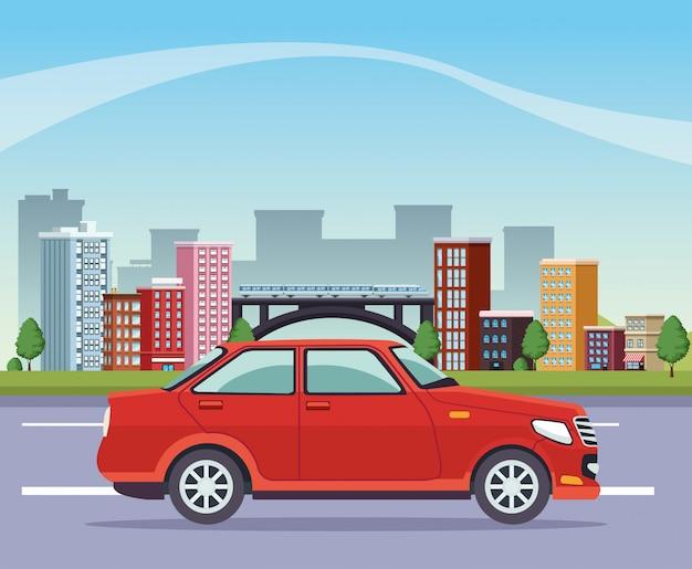 Gebäudestadtbild mit straße und auto