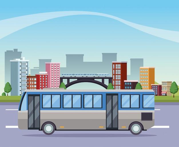 Gebäudestadtbild mit straße und bus