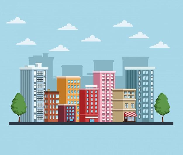 Gebäudestadtbildsymbol städtische szene