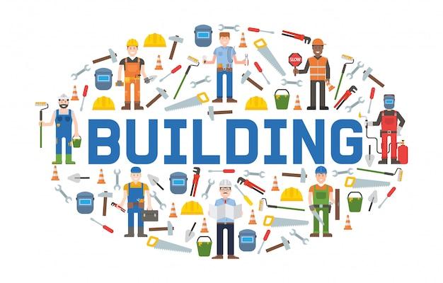 Gebäudetechnik-werkzeugfahne hauptreparatur. baugeräte. hand liefert für hausrenovierung und wiederaufbau.