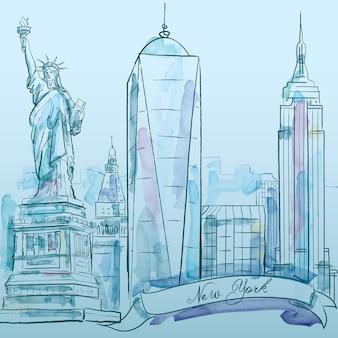 Gebäudevektor-aquarellskizze new york ikonenhafte