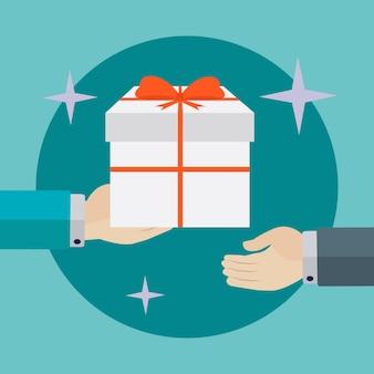 Geben eines geschenkes hintergrund-design