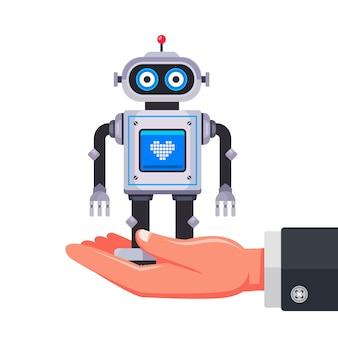 Geben sie ein intelligentes roboterspielzeug.