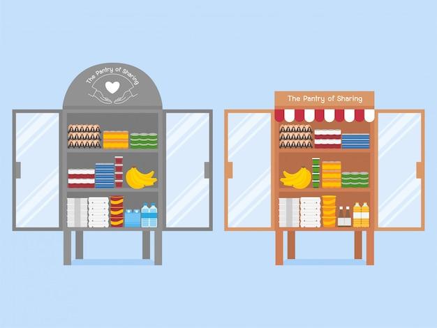 Geben sie hand charity food-sammlung für das teilen helfen sich gegenseitig konzept