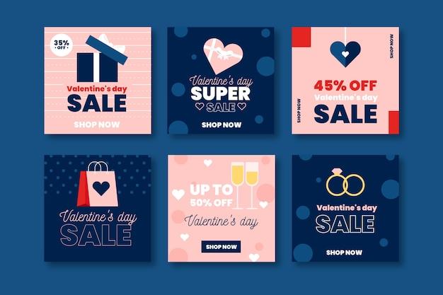 Geben sie sammlung des valentinstagverkaufs auf instagram bekannt