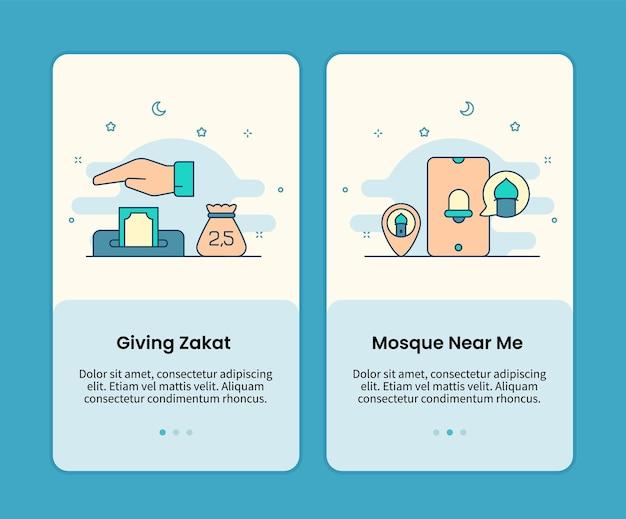 Geben sie zakat und suchen sie moschee verwenden app mobile seiten eingestellt