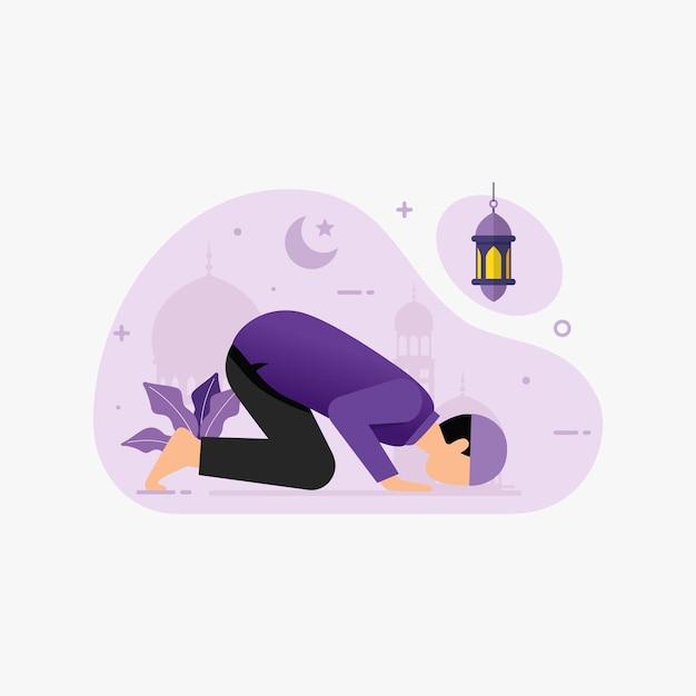 Gebetsanbetung der muslimischen leute in der moschee für ramada
