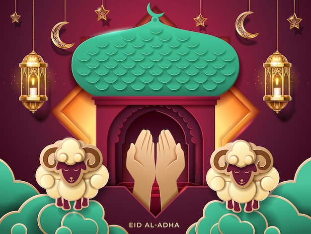 Gebetshände und islamischer papiermoscheeneingang für muslimisches opferfest
