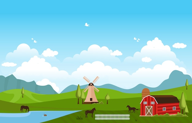 Gebirgshügel-grüner bauernhof-feld-landschaftshimmel