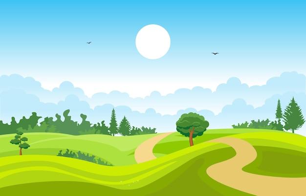 Gebirgshügel-grünes gras-baum-natur-landschaftshimmel