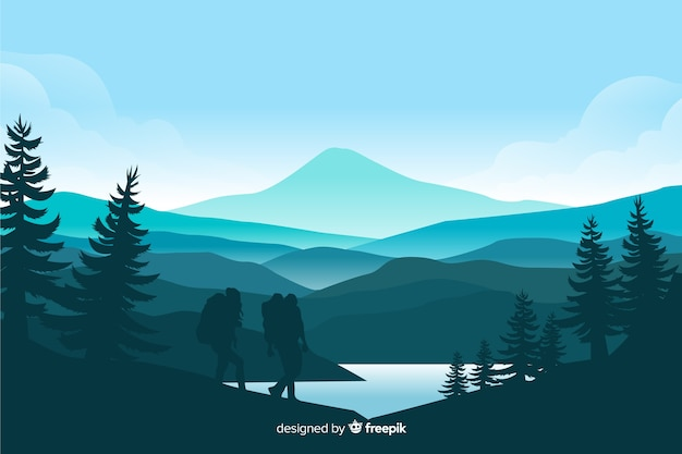 Gebirgslandschaft mit tannenbäumen und see