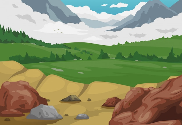 Gebirgslandschaftshintergrundvektor