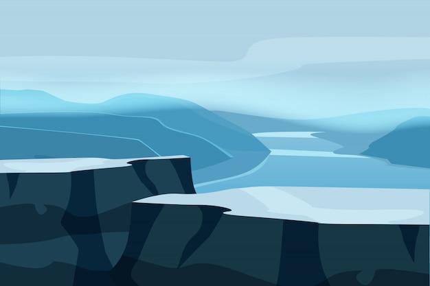 Gebirgslandschaftsplateaufelsen. rocks hills river fjord sea horizon space parallax panorama