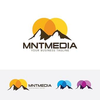 Gebirgsmedien und logo-vorlage im freien