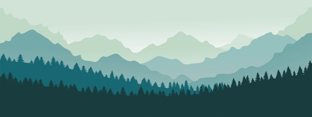 Gebirgspanorama. waldgebirgslandschaftslandschaft, blaue berge n dämmerung, kampierende naturlandschaftsschattenbildillustration. waldbereichslandschaft, panoramaschattenbildhügel