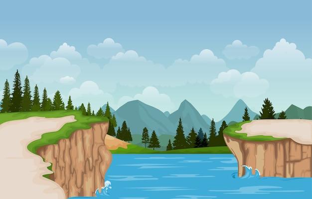 Gebirgstal cliff tree nature landscape vector illustration