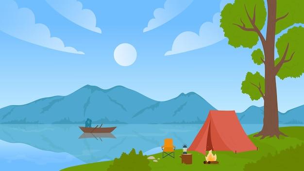 Gebirgstalsee-naturlandschaft mit reisecamp-sommerferienabenteuer