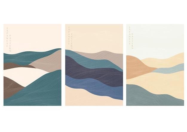 Gebirgswaldhintergrund mit abstraktem landschaftsschablonenvektor. linienmuster mit kurvenbanner.