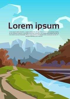 Gebirgswasser-fluss-landschaftswald-grüner park-blauer himmel