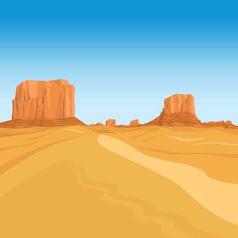 Gebirgswüstenvektor-landschaftshintergrund mit roten felsen