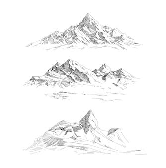 Gebirgszüge im gravurstil. panorama-vektor.