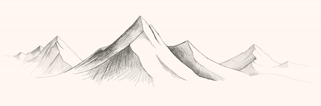 Gebirgszüge. panorama-skizze illustration. berge skizzieren illustration
