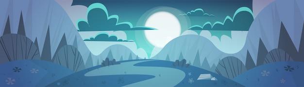 Gebirgszug-frühlings-nachtlandschafts-land-naturhintergrund