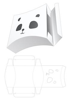 Gebogene box mit panda gesicht geformte fenster gestanzte schablone