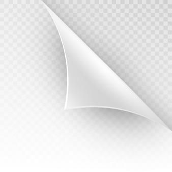 Gebogene ecke eines weißen papiers mit schatten. nahaufnahme von mock-ups für sie auf einem transparenten hintergrund. und beinhaltet auch