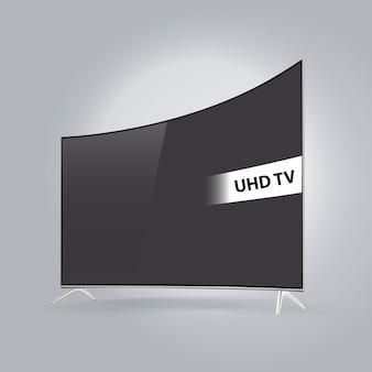 Gebogene intelligente led fernsehserie getrennt auf grauem hintergrund