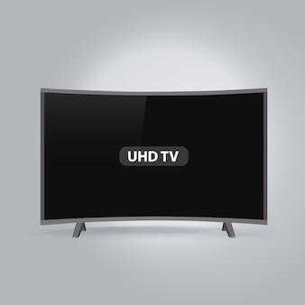 Gebogene intelligente reihe led uhd fernsehapparat getrennt auf grauem hintergrund