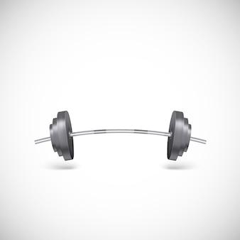 Gebogene metallische langhantel. illustration der turnhalle, gewichte realistisch, illustration