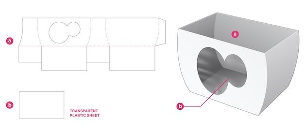 Gebogene schüssel und kreisfenster mit transparenter plastikfolie gestanzt schablone